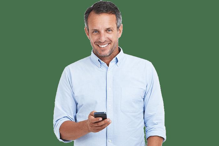 ALfa eCare Omega man med mobil cell phone